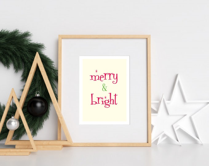 Christmas Decor - Merry and Bright red and green downloadable print for dining room, entryway or living room decor- simple art