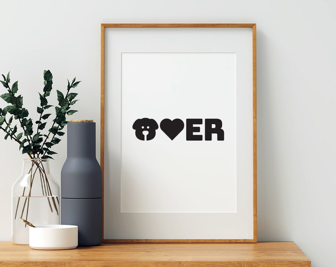 Dog Lover black and white downloadable print - animal lover