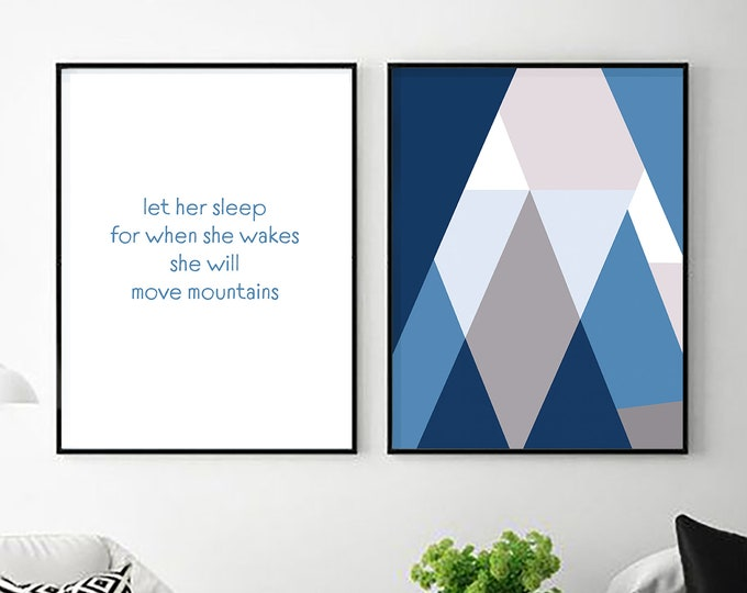 Downloadable Print - Let Her Sleep For When She Wakes - two prints - printable posters -  nursery decor - above bed - above crib