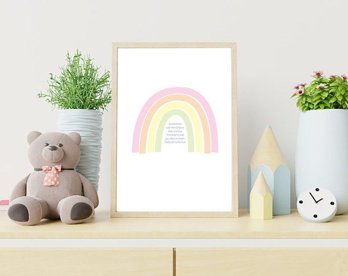 Somewhere Over the Rainbow - downloadable print - nursery decor or children's room - simple art