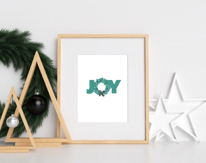 Christmas Decor - Joy green and white downloadable print for dining room, entryway or living room decor- simple art