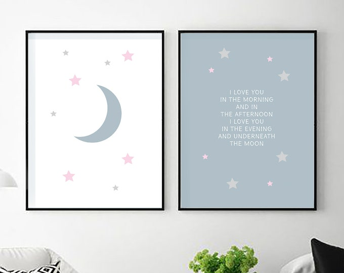I Love You in the Morning - two blue and white instant prints - nursery decor