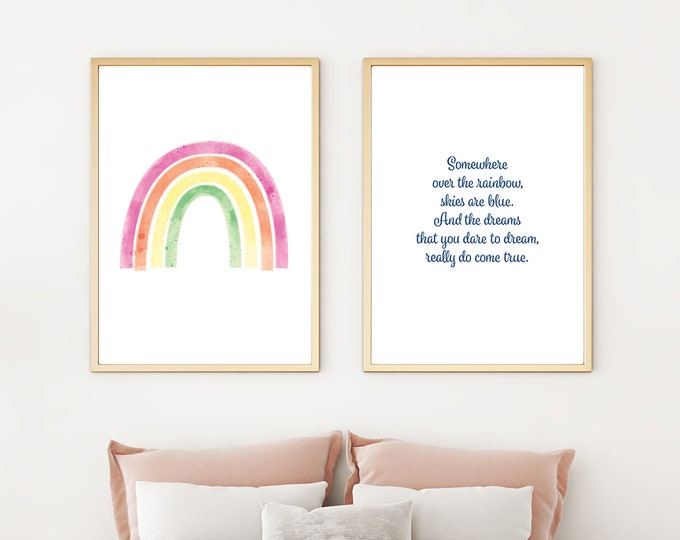Somewhere Over the Rainbow - two downloadable prints - instant print - children's room or nursery decor