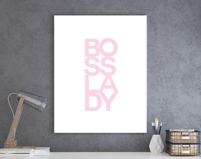 Downloadable Print - Boss Lady pink - simple office decor art