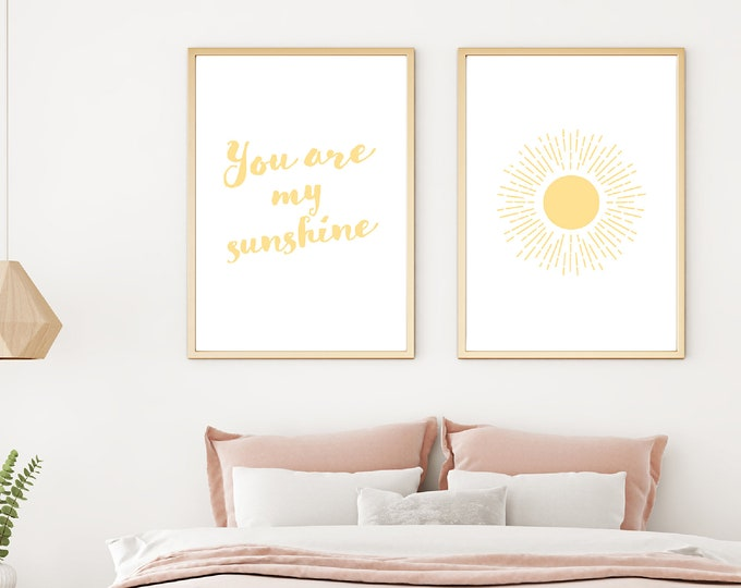 Downloadable Print - You Are My Sunshine two instant prints for children's room or nursery decor - printable - above crib - above bed