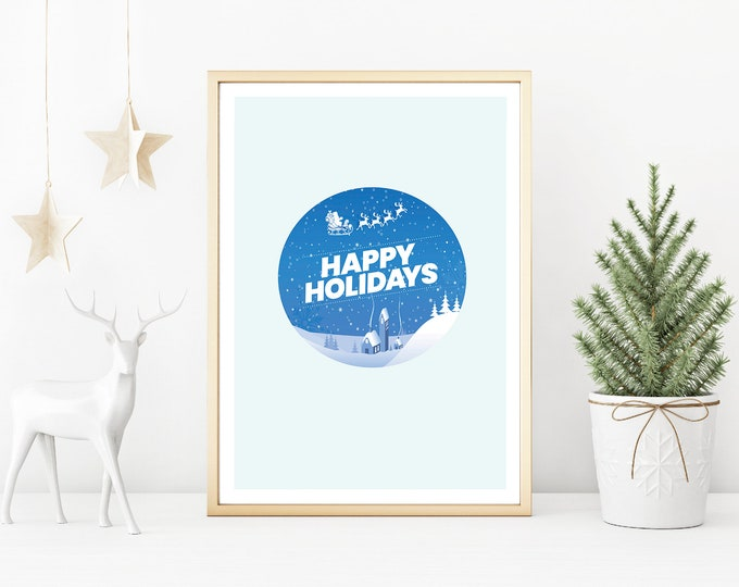 Christmas Decor - Happy Holidays blue and white downloadable print for dining room, entryway or living room decor- simple art