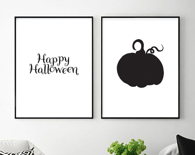 Halloween Decor - Happy Halloween two black pumpkin instant prints for entryway or dining room - simple downloadable print