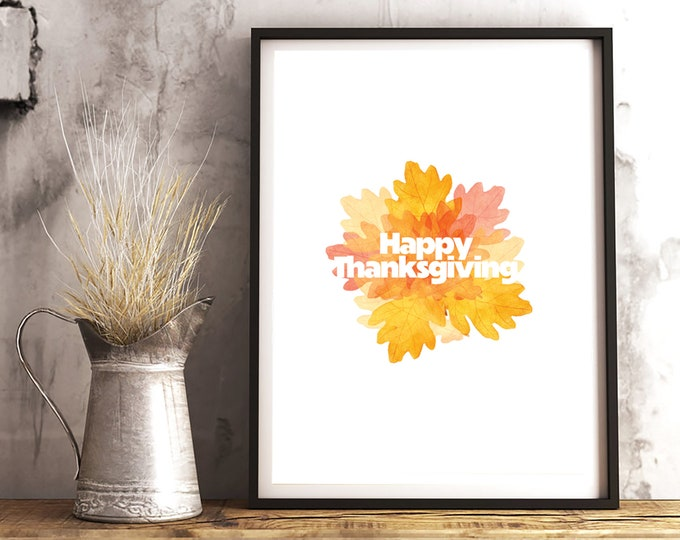 Happy Thanksgiving downloadable print for living room, dining room or entry decor - simple downloadable print