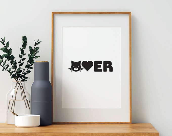 Cat Lover black and white downloadable print - animal lover