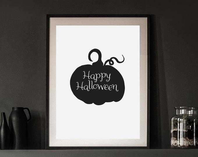 Halloween Decor - Happy Halloween black pumpkin instant print for entryway or dining room - simple downloadable art