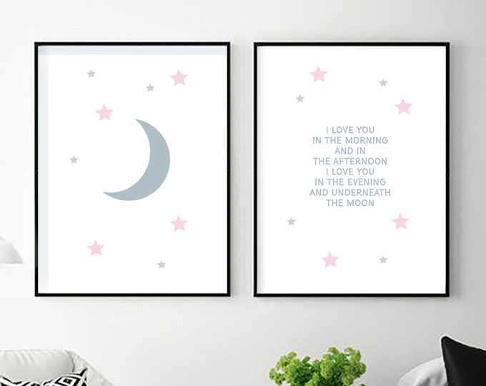 I Love You in The Morning - two white instant prints for nursery or children's room - simple downloadable art