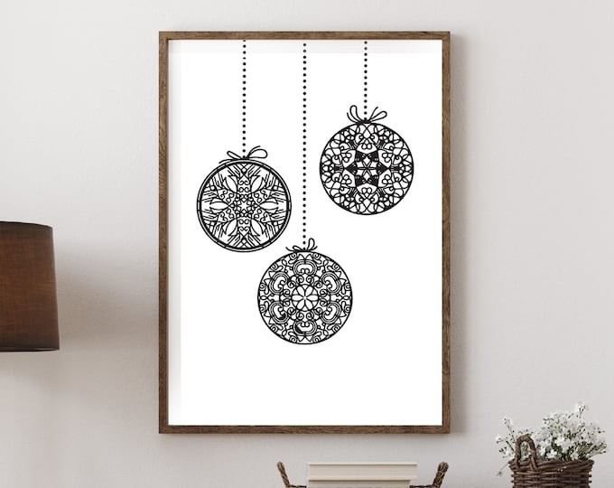 Christmas Decor - Festive Baubles black and white downloadable print for dining room, entryway or living room decor- simple instant art