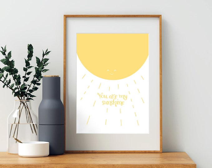 You Are My Sunshine yellow downloadable print for children's or nursery room