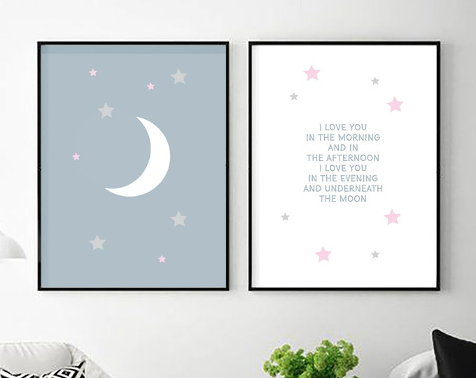 I Love You in the Morning - blue and white two instant prints - nursery decor