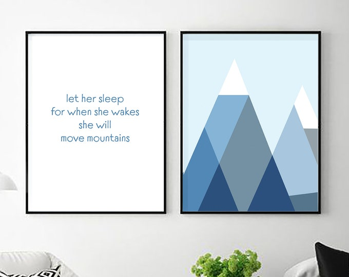 Let Her Sleep for When She Wakes - two downloadable prints - nursery decor