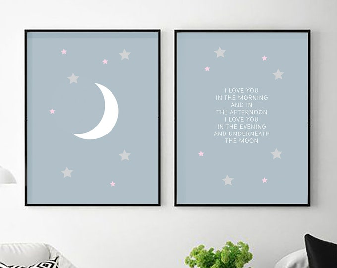 I Love You in The Morning - two blue instant prints for children's room or nursery decor - moon downloadable print