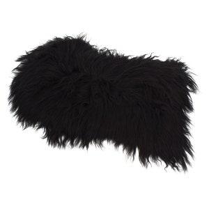 Icelandic sheepskin black long-floorwhite tanning