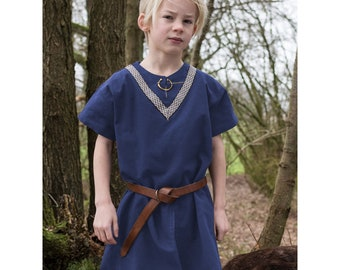 Children's Medieval Tunic Ailrik with border, short-sleeved, blue