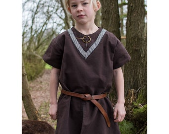 Children's medieval tunic Ailrik with border, short-sleeved, brown