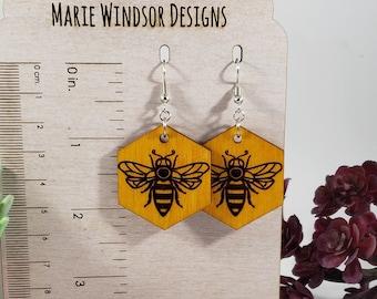 Wooden Earrings Bee Workers