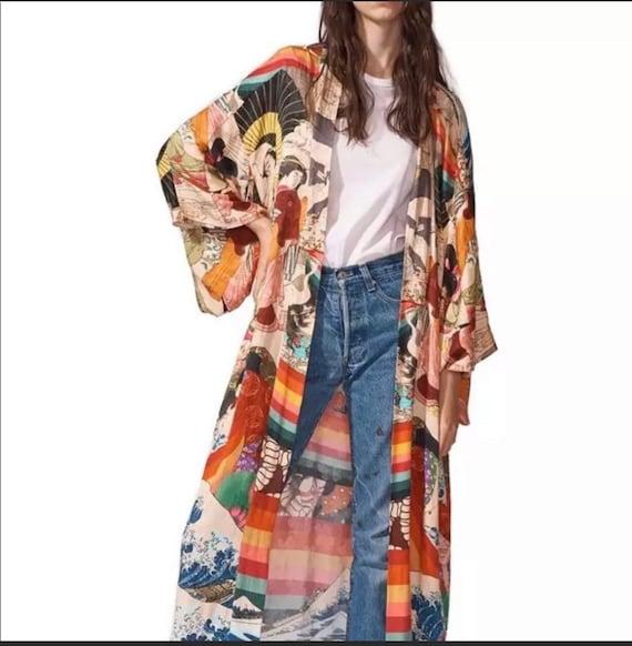 Blue Bubble Kimono Bohemian Maternity Bridal Robe Beach Cover Up Dressing Gown Robe Kaftan Swimwear Tunic Nursing Moms Baby Shower\u00a0