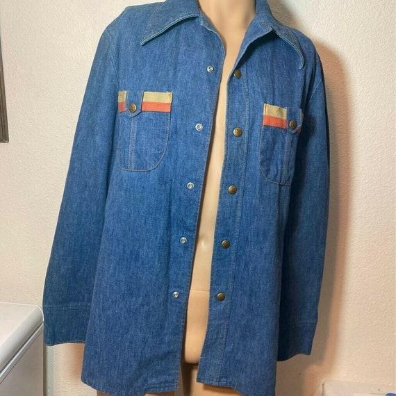 Vintage 70s Lee set usa denim snap  Shirt Blue vtg