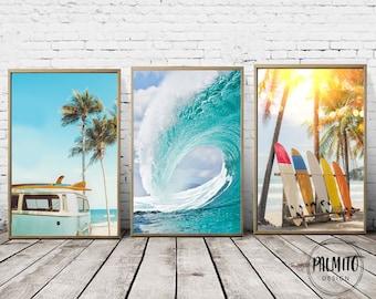 Set of 3 printable wall art, Coastal decor, Surf prints, Surfboard wall art, Vintage van print, Wave digital print