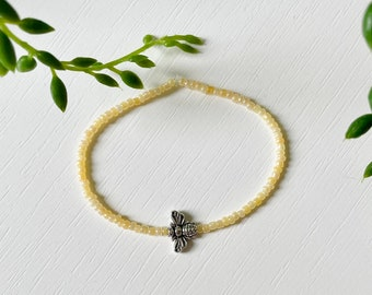 Glass Seed Bead Bracelet With Bee Charm // 15 Colours // Handmade to Order