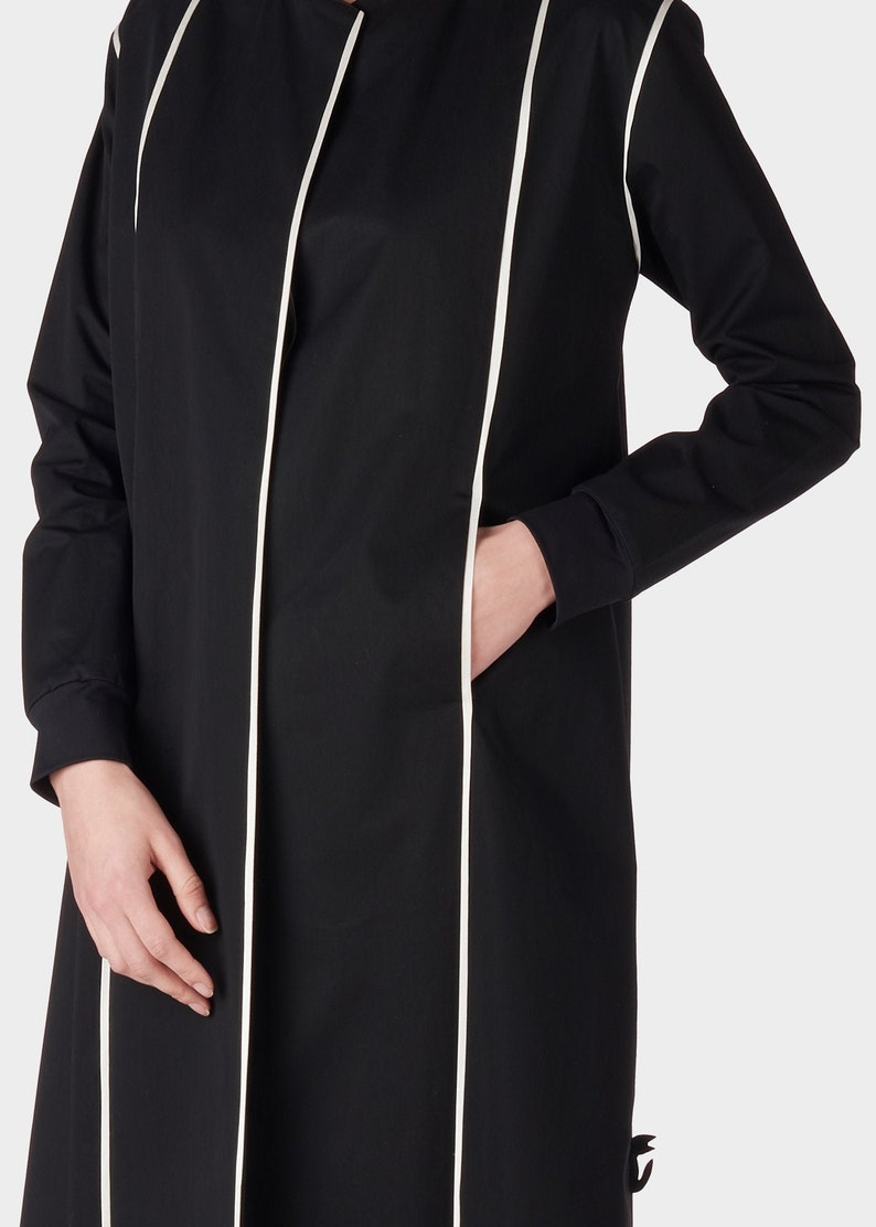 black cat collection Trench coat black duster cotton trench coat vest duster coat