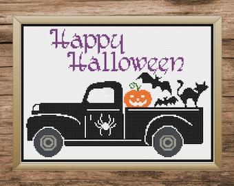 Halloween Cross Stitch, Halloween Cross Stitch Pattern, Halloween Truck, Truck Cross Stitch, Cross Stitch, Cross Stitch Pattern