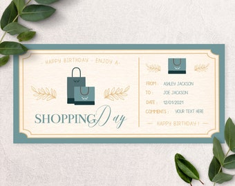 Printable shopping day gift ticket, surprise trip, Surprise Activity, daughter gift, gift for her, printable gift, custom gift, mom gift B2