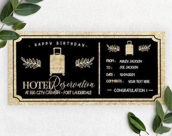 HOTEL RESERVATION GIFT ticket, trip voucher, hotel reservation gift, Custom Gift Voucher, hotel voucher, travel gift, birthday gift B5