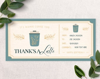 Coffee Gift ticket, Thanks a Latte custom latte coffee gift, coffee gift card, birthday gift, Gift Voucher, personalized gift, gift ideas B2