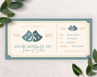 THEATER GIFT ticket, event gift ticket, birthday gift ticket, gift for her,  gift Experience, custom voucher, printable gift voucher B2