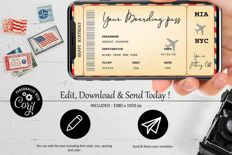 Surprise Flight GIFT Boarding Pass Ticket virtual ticket Trip phone Holiday,editable text,DIY Printable Editable,BIRTHDAY gift Boaording