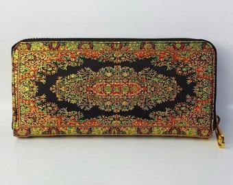 Orange orange stock exchange beige wallet  kilim wallet woven Turkish craft  case makeup kit  vintage boho handmade flowers
