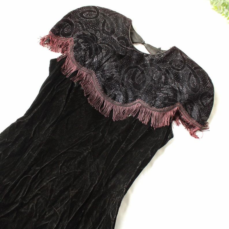 1980\u2019s Gunne sax vintage velvet fringe shoulder bodycon knee length dress with open back