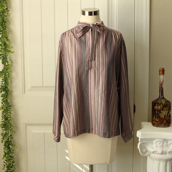 Vintage Cream Silky Blouse  Pinstripe Shirt Size Large