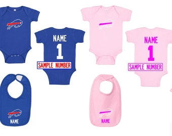 Baby boy first birthday cake smash outfit NFL Parent shirts are available Buffalo Bills Football