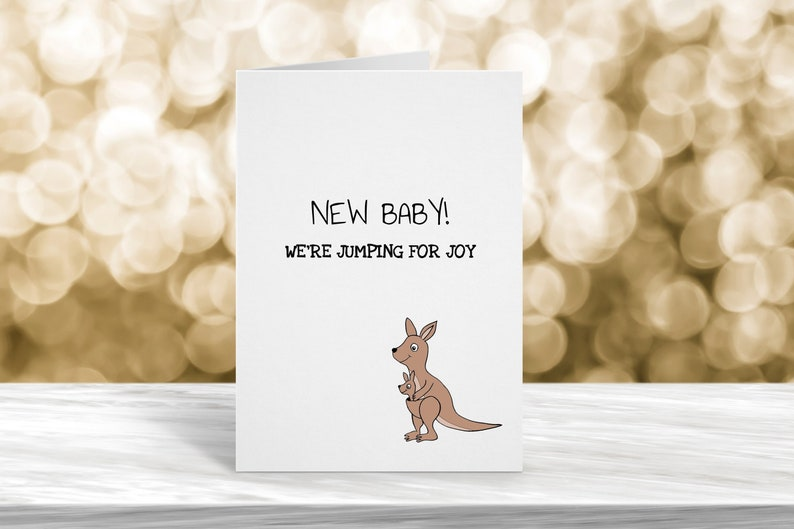 Were Jumping for Joy Kangeroo Card New Baby Card Funny Greeting Card