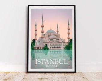 Istanbul Atalya Bedroom Office Study Map Set Wall Art Gift for Him  Her  Boyfriend Homemade Unique Vintage Turkey Travel Artwork Print