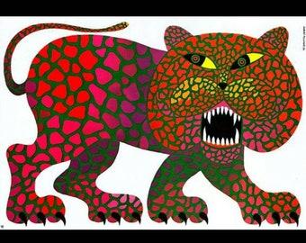 Polish Vintage Circus Poster by Hubert Hilscher 1978 Grinning Leopard