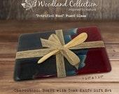 "Woodland Collection - ""Petrified Wood"" Fused Glass Charcuterie Board 2 pc Gift Set (9.5"" x 5.5"" w/ Teak Knife)  - Housewarming, Hostess Gift"
