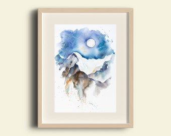 Gift for an Adventurer Snowy Mountain Fine Art Watercolour Landscape Giclee Print A4 Full Moon Mountains Gift for a Nature Lover