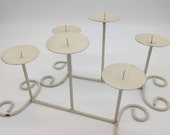 Creamy White Metal Scroll Candelabra - Set of 2 Chippy Paint with Rust Spots- Vintage Wedding - Tiered Candle Stand - Country Farmhouse