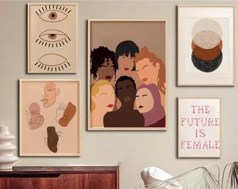 Feminist Set of 5 Poster, Girl Power Bundle Wall Art Print, Feminism Poster, Nursery Gallery Print, Empowered Women, Feminist Illustration