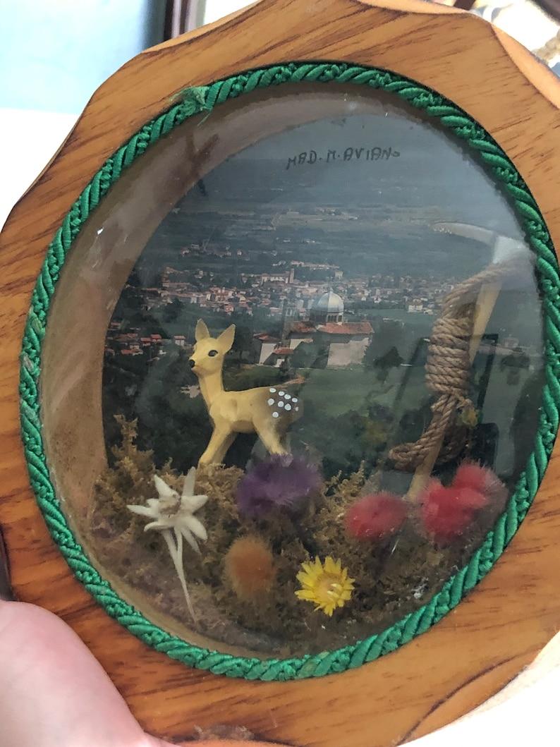 Vintage Aviano Italy Italian Handmade Wood Convex Glass Bubble Shadowbox Souvenir Artisan Folk Art Deer Mining Hiking Rare Unique Alps