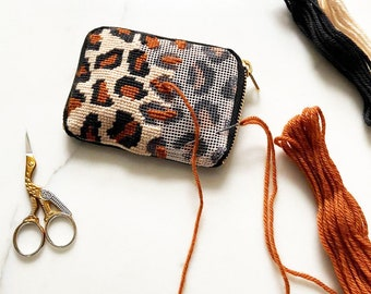 Leopard Print Needlepoint Wallet Kit, Modern Needlepoint Leopard Print Leather Wallet, Simple Needlepoint Purse, Cheetah Print Wallet