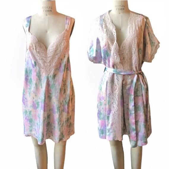 Vintage Vanity Fair Floral Nightgown Robe Set Med