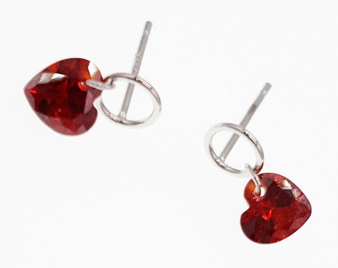 Red Love Heart Stereoscopic Geometric Sterling Silver Earrings Mothers Day Gifts Jewelry Jewellery